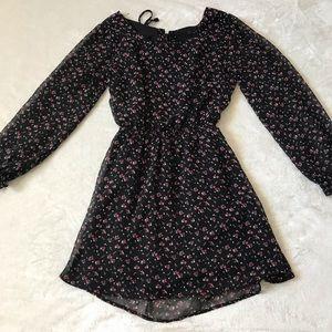 floral long-sleeve open back dress | size: medium